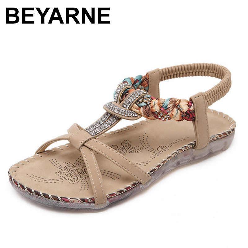 BEYARNE 自由奔放に生きるボヘミアン国民ラインストーンクリスタルダイヤモンドの女性のサンダル夏エスニックビーチカジュアルシューズプラス Size45