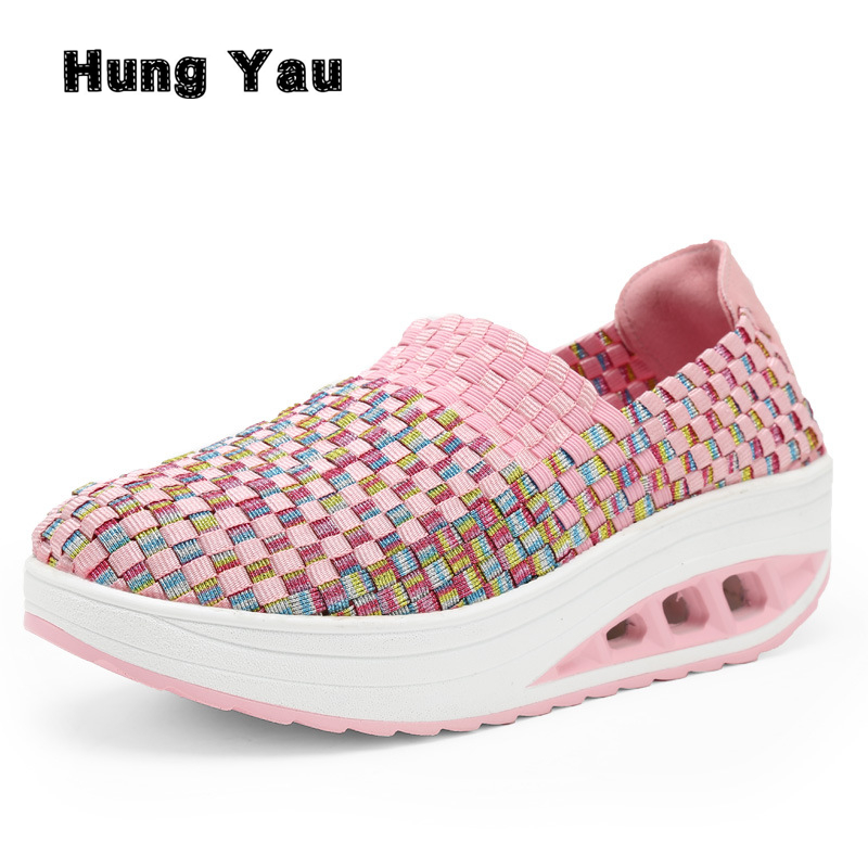 Hung Yau Women Shoes Summer Flat Female Loafers Women Casual Flats Breathable Woven Shoes Sneakers Slip On Colorful Shoe Mujer summer women slip on loafers breathable light sole flats shoes cheap walking sneakers casual woven shoes for women nurse shoes