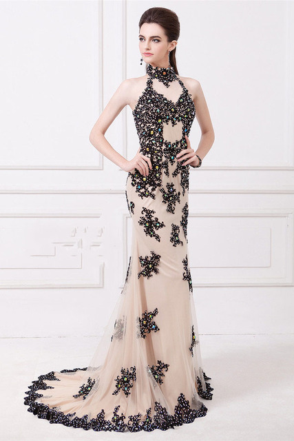 Turtle Neck Cut Out Prom Dress