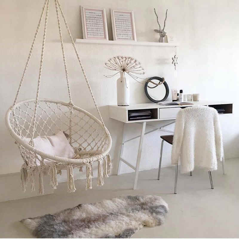 ... INS Style Swing Chair Swing With Hanging Hook 110KG Capacity Macrame  Cradle For Indoor, Outdoor ...
