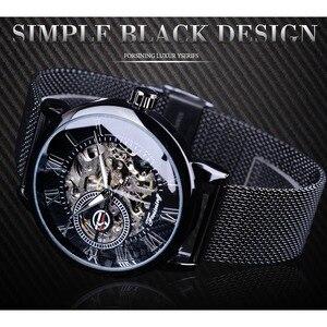 Image 2 - Forsining Retro Fashion Design Skeleton Sport Mechanical Watch Luminous Hands Transparent Mesh Bracelet For Men Top Brand Luxury