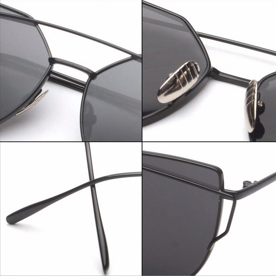 fb524e0bec 2016 New Cat Eye Aviator Sunglasses Women Vintage Fashion Metal Frame  Mirror Sun Glasses Unique Flat Ladies Sunglasses UV400-in Sunglasses from  Apparel ...