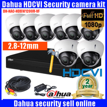 Dahua HD CVI 8channel Security Camera System Kit 2MP 1080p HAC-HDBW1200R-VF Dome Waterproof 2.7-12mm Security Camera with cable