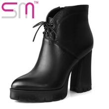 Echtes Leder Vintage Hoof High Heels Schuhe Frau Stiefeletten Add Fur Herbst Winter Stiefel Dicken Plattform Frauen Stiefel
