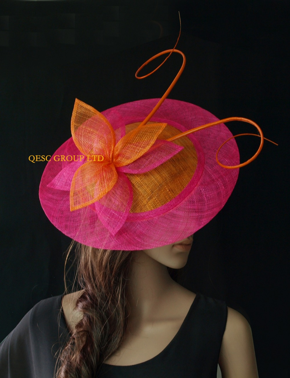 NEW Wholesale Orange fuchsia big Sinamay fascinator hats with long ostrich spine kentucky derby wedding Women