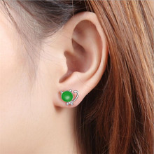 Everoyal Cute Crystal Green Cat Stud Earrings For Women Jewelry Fashion 925 Silver Earring Female Party Accessories Princess Hot стоимость