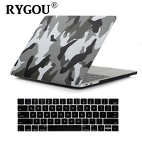RYGOU Camouflage Decal Matte Hard Case for Macbook Pro 13 15 with or without touch bar A1706 A1708 A1707 A1989 A1990 Laptop Case