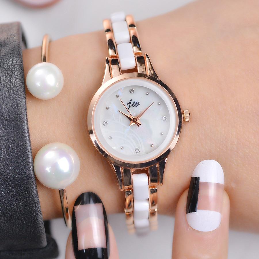 2018 Jw Top Brand Women Bracelet Watch Luxury Rhinestone Gold Dress Fashion Casual Alloy Casual Quartz Student Gift Wristwatches