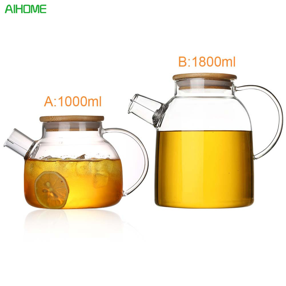 1L/1.8L Big Transparent Borosilicate Glass Teapot Heat Resistant Large Clear Tea Pot Flower Tea Set Puer Kettle Office Home Tool|Teapots| |  - title=