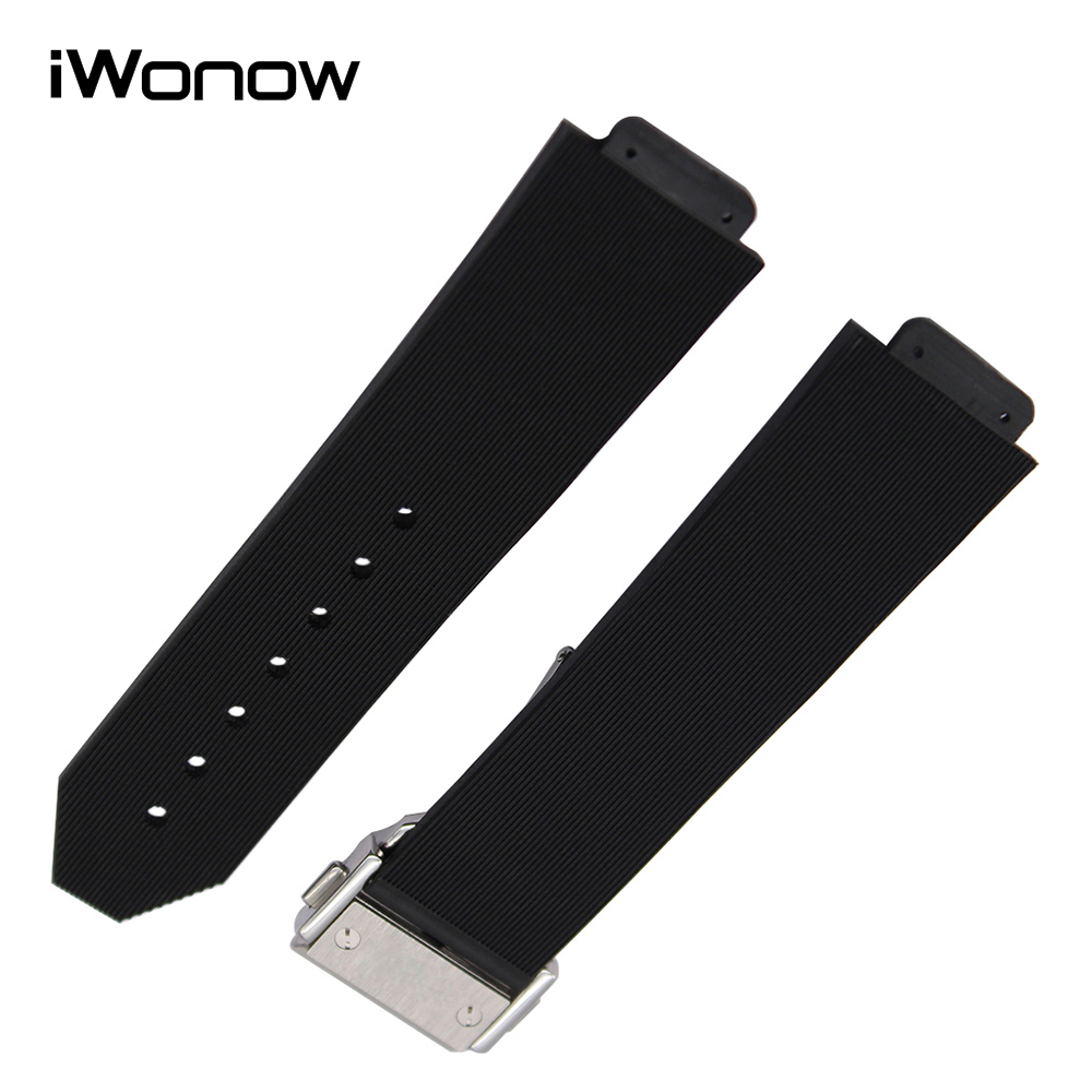 Silicone Rubber Watchband 28 x 19mm Convex Strap for Hublot Men Watch Band Stainless Steel Butterfly