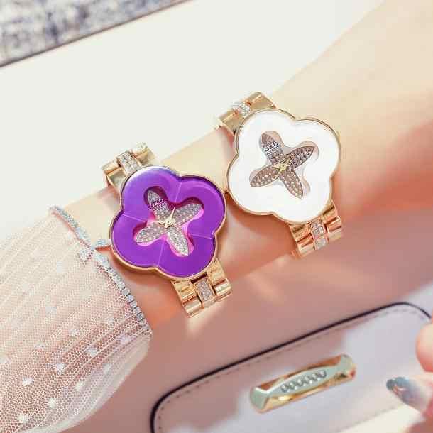 G & D ยี่ห้อ Rhinestone ควอตซ์นาฬิกา Zircon ผู้หญิงผู้หญิงคริสตัลนาฬิกาหญิง Four - leaf clover นาฬิกา