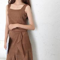 South Korea Chic Summer Wind Vest Coffee Color Gauze Skirt Lace Two Piece Fishtail Dress