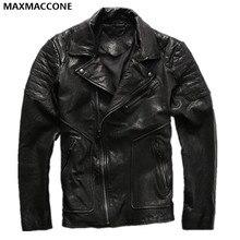 2018 Black Men Motorbike Leather Jacket Diagonal Zipper Plus Size XXXL Genuine Sheepskin Men Slim Fit