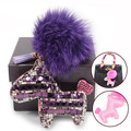 Fashion Lovely Genuine Fox Fur Ball Horse Keychain Luxurious Rhinestone Crystals Fur Pompom Key chain Cute Bag Charm Key chains