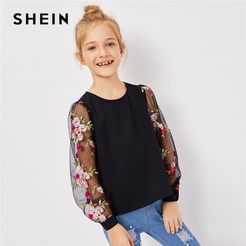 SHEIN Kiddie Girls Black Mesh Floral Embroidered Keyhole Back Casual   Blouse   Children 2019 Spring Korean Long Sleeve Button   Shirt