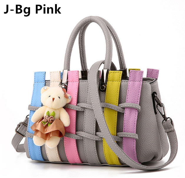+Bear pendant Womens handbag female sweet gentlewomen fashion embossed womens handbag one shoulder cross-body Woven hollow