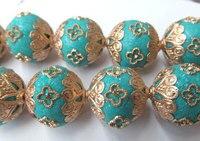 Handmade 20mm pieno starnd polimero e cristallo, Polimero Kashmiri Ottone della sfera Rotonda del turchese blu perline gioielli misti
