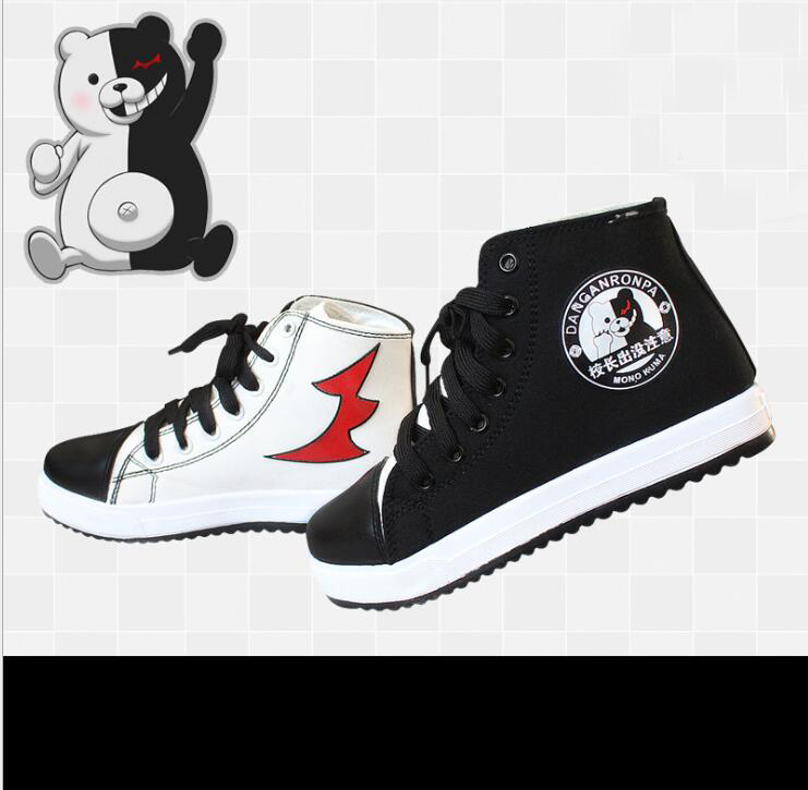 New Japanese Anime Danganronpa 3 Monokuma Cosplay Shoes Canvas Ankle Boots Women Men Dangan Ronpa Shoes