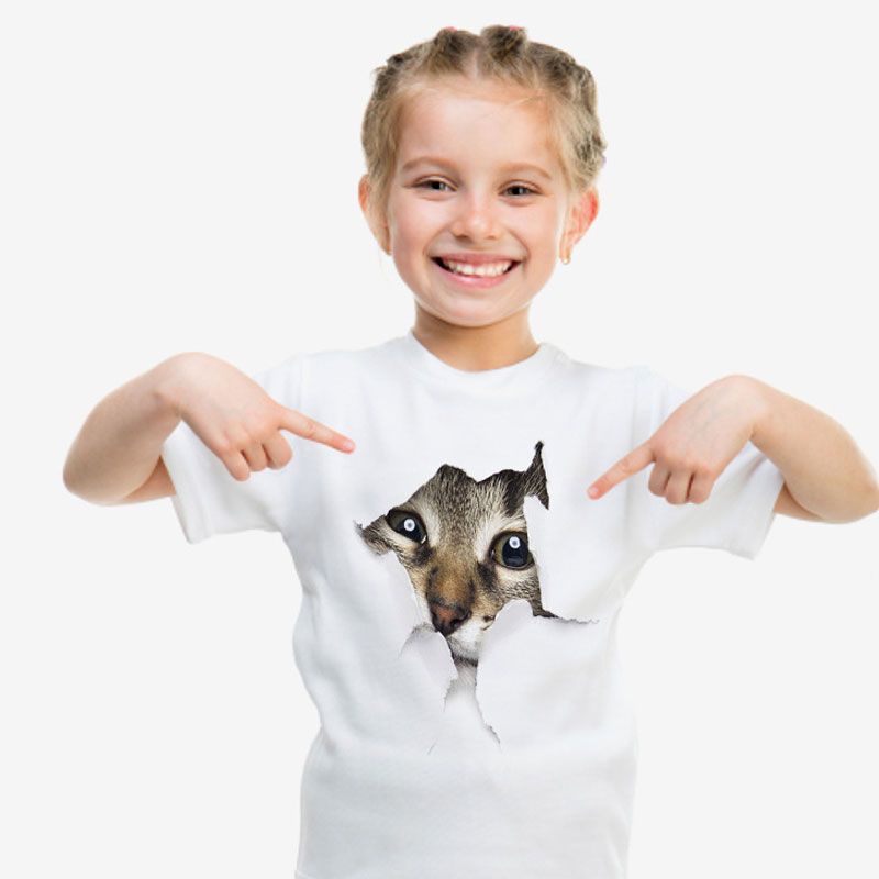 T-Shirt Girls Cat Kids Child T-Shirt 3d Print Animals Cartoon Tshirt Summer Short Sleeve Tops Tees Fashion 2017 Children Clothes 2018 kids girls clothes set baby girl summer short sleeve print t shirt hole pant leggings 2pcs outfit children clothing set