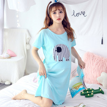 2019 Maternity Nightwear Cartoon Elephant Nursing Pajamas Cute Thin Breastfeeding Pregnant Wear Summer Nightgown Sleepwear