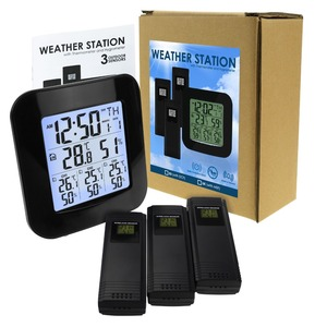 Image 2 - Digital Weather Station with Thermometer and Hygrometer, with 3 Indoor/ Outdoor Wireless Sensors for Temperature and Humidity