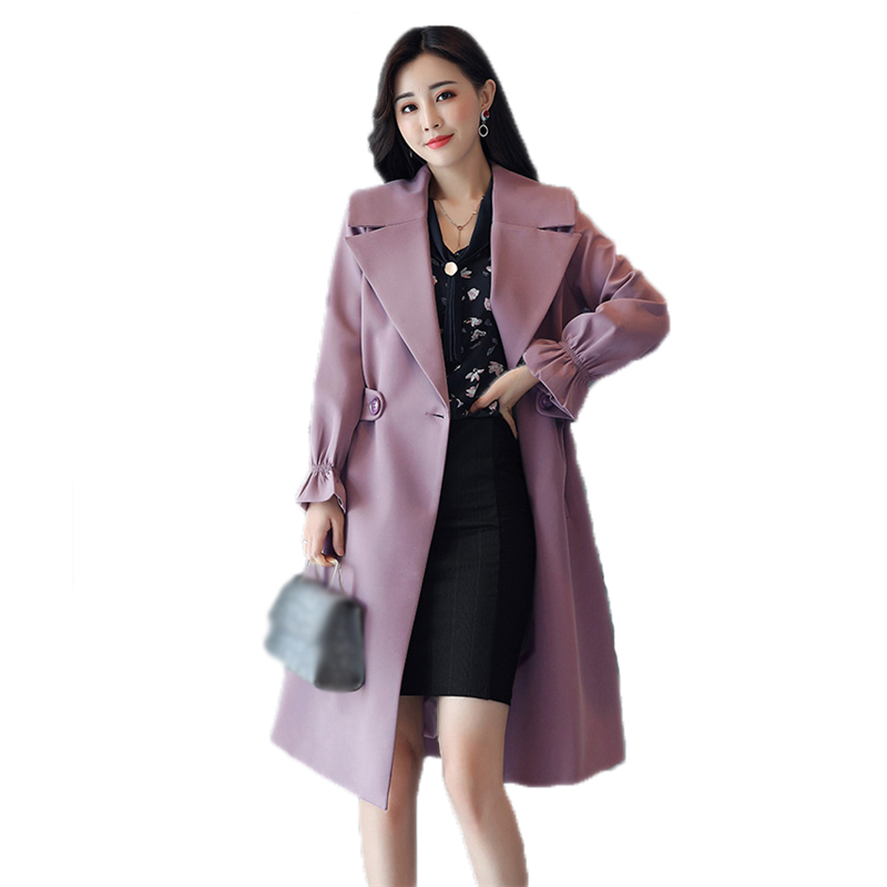 4XL Plus Size   Trench   Coat Women Spring Autumn 2018 Turn-Down Collar Female OL Slim Medium-Long Outerwear With Belt Pocket O228