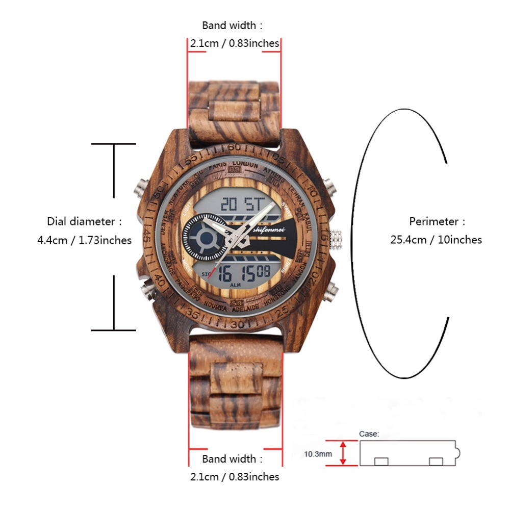 top luxury brand Shifenmei 2139 Antique Mens Zebra and Ebony Wood Watches with Double Display Business Watch in Wooden digital quartz watch drop shipping 2019 (25)