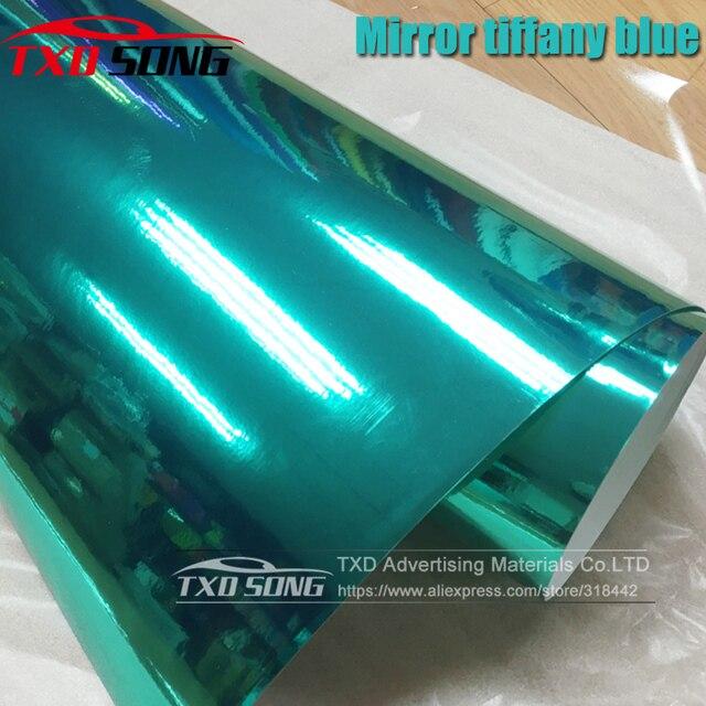 50 ซม.* 1 M/2 M/3 M/4 M/5 M ม้วนรถจัดแต่งทรงผมสูงยืด Tiffany Blue Mirror VINYL Wrap แผ่นม้วนฟิล์มสติกเกอร์รถยนต์
