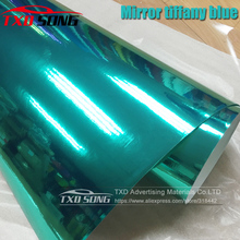 50CM * 1 M/2 M/3 M/4 M/5 M Rotolo Car styling alta elastico Tiffany blu Chrome Mirror Vinile Wrap Copriletto Rotolo di Pellicola Adesivo Auto