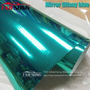 Image 1 - 50CM * 1 M/2 M/3 M/4 M/5 M Rotolo Car styling alta elastico Tiffany blu Chrome Mirror Vinile Wrap Copriletto Rotolo di Pellicola Adesivo Auto