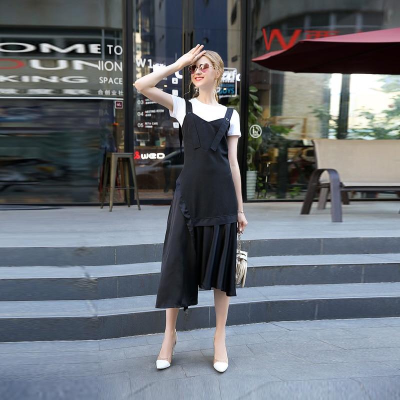 Costume À Dernière Mi Courtes shirt Asymétrique O cou 2017 Femmes Arrivée D'été Mode Noir mollet Manches T Nouvelle Jupe 12185 Casual ZukiwOTlPX