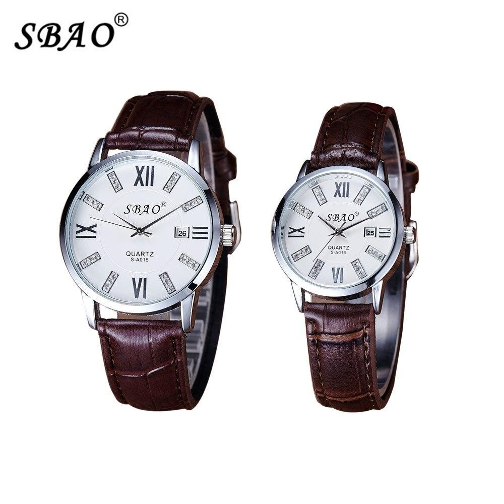 1 pair SBAO brand Lovers fashion watches women leather mens watch men wristwatches casual quartz watch reloj mujer