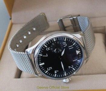 44mm GEERVO black dial Asian 6497 17 jewels Mechanical Hand Wind movement men's watch green luminous Mechanical Wristwatches97a