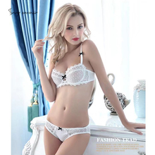 sexy mousse transparent thin cup bow lace women lingerie half black white red  underwire underwear