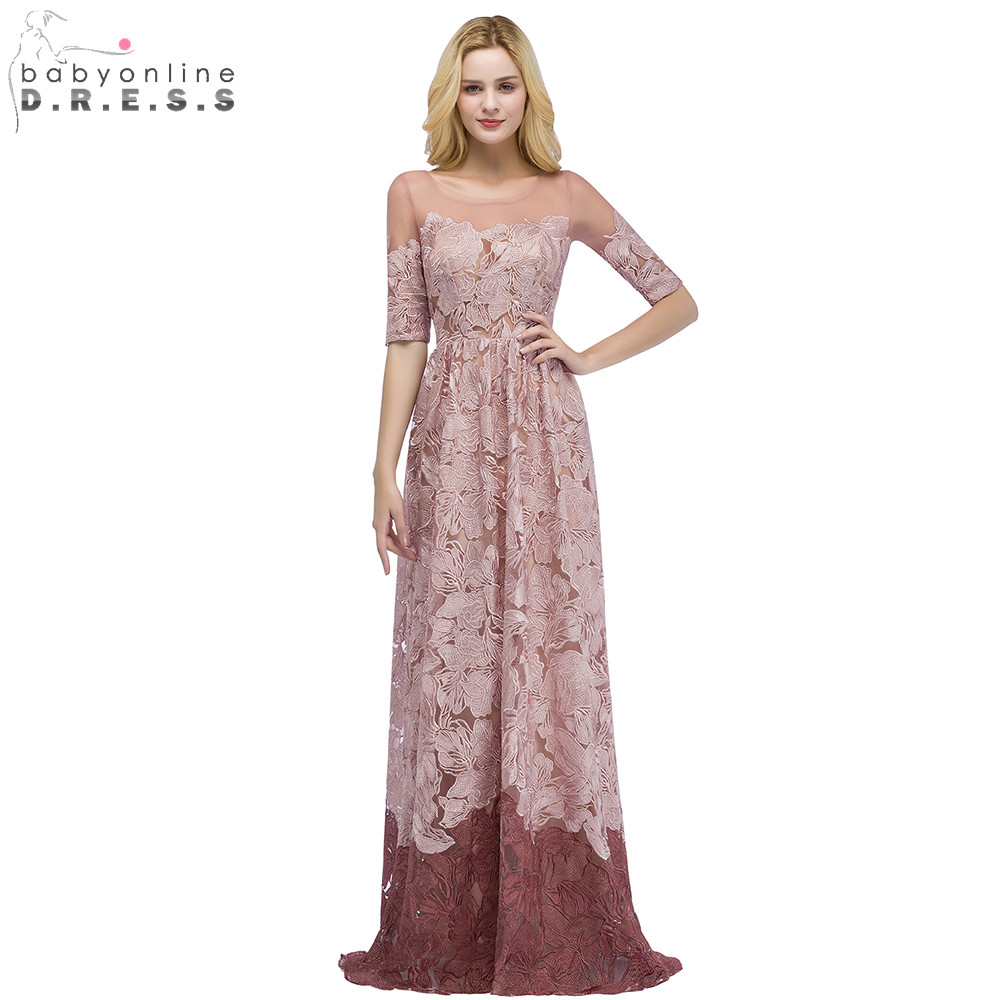 Elegant Color Matching Half Sleeve Lace Long   Evening     Dress   Sexy Illusion A Line   Evening   Gowns Robe de Soiree Longue