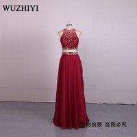 WUZHIYI/сексуальное платье Русалочки с бисером, большие размеры, платья для выпускного вечера 2017, шифоновое Новое поступление, прозрачное плат