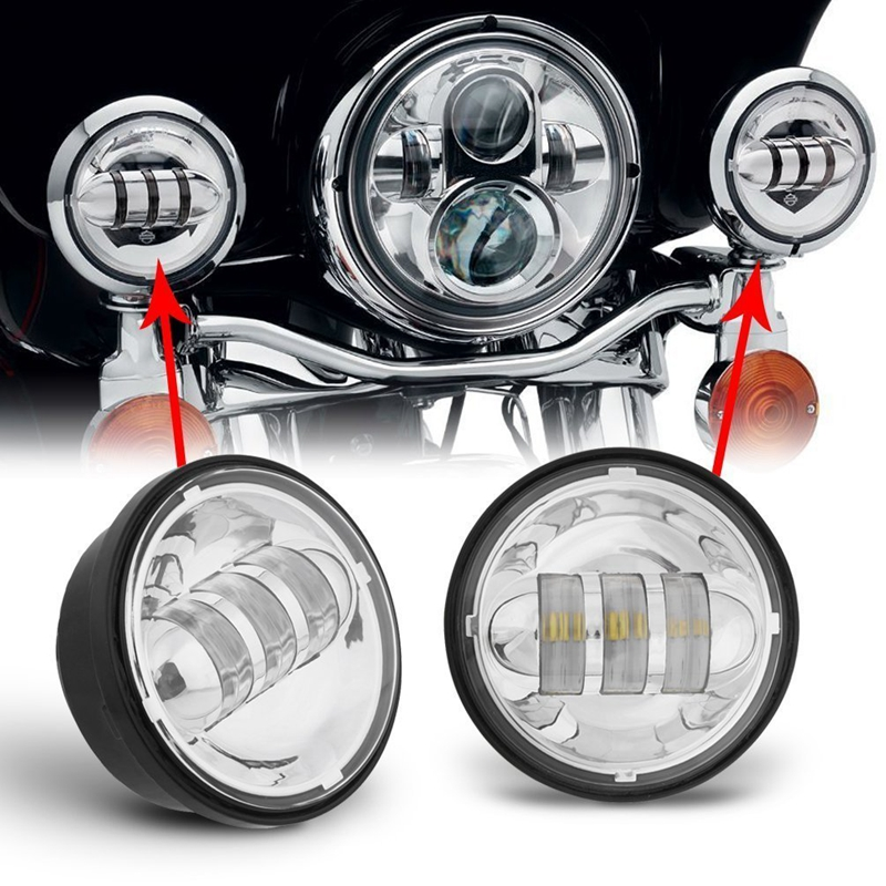 Black 7 inch LED Headlight Daymaker / 4.5 inch Passing Fog Light +7 Bracket For Harley Classic Electra Glide Street