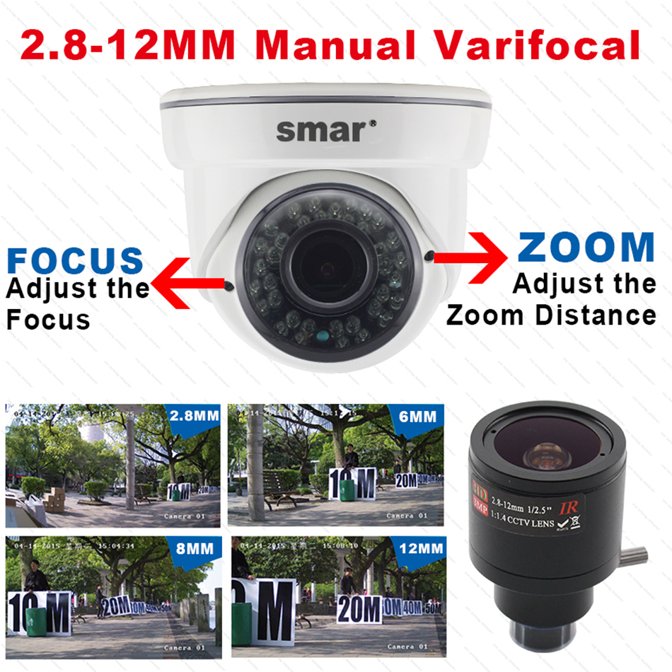 Smar HD 1080 AHD Camera With 2.8-12mm 4X Manual Varifocal Lens 36 IR LED Indoor Wired Dome Surveillance Camera IR Cut Filter (2)