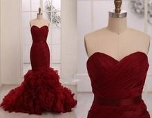Vestidos de Noiva 2019 Elegant Wine Red Prom Dresses Sweetheart Organza Ruffles Mermaid Evening Dress Formal Gowns