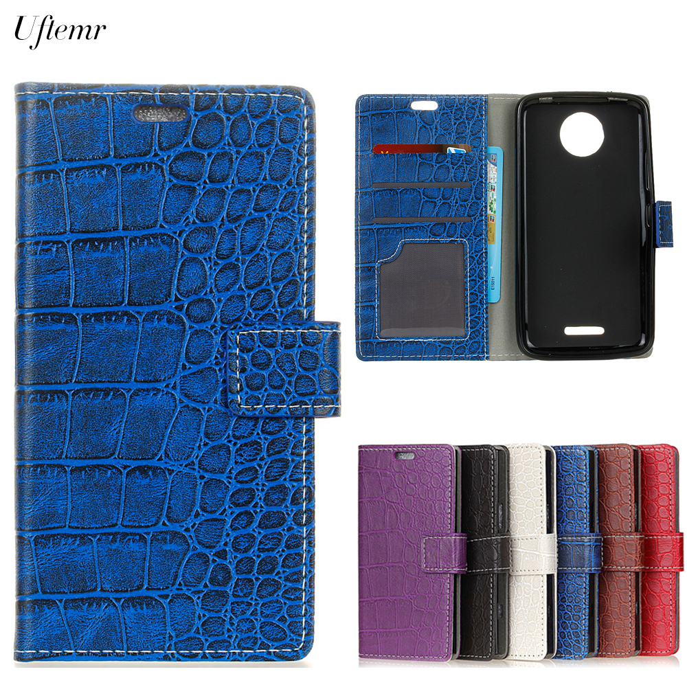 Uftemr Vintage Crocodile PU Leather Cover For MOTO C Plus Protective Silicone Case Wallet Card Slot Phone Acessories