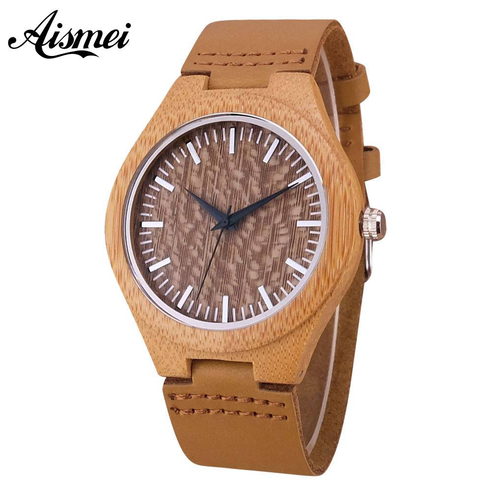 2018 Casual Nature Male Wood Bamboo Genuine Leather Band Strap Wrist Watch Men Cool Analog Bracelet Gift relojes de pulsera new arrival hot pokemon pokeball nature bamboo wood wrist watch women men genuine leather band strap modern cool unisex gift