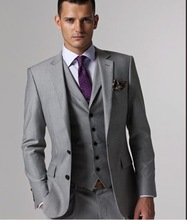 Custom made Mens Light Grey Suits Jacket Pants Formal Dress Men Suit Set men wedding suits groom tuxedos(jacket+pants+vest+tie))