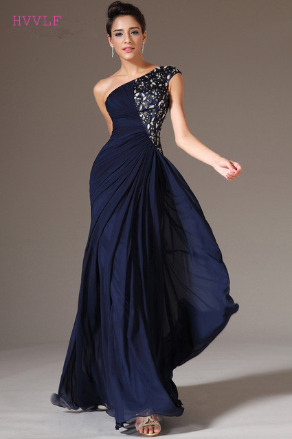 Navy Blue Evening Dresses 2019 Mermaid One shoulder Chiffon Lace Beaded Crystals Long Evening Gown Prom