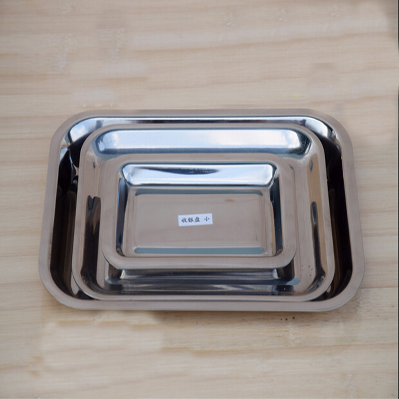 3 Pieces Per Set Thicker Stainless Steel Barbecue Dishes Creative Kitchen Accessories Rectangle Storage Tray Set