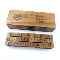 42pcs Set Creative Letters Numbers Stationery Wood Stamp Set DIY Stamp Decorative Funny Work Wooden Box