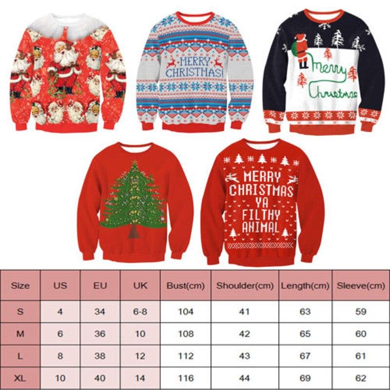 Neue Ankunft Stilvolle Unisex Weihnachten Sweatershirt Männer Frauen Santa Weihnachten Weihnachten Neuheit Hässliche Warme Pullover Weibliche Tops Kleidung