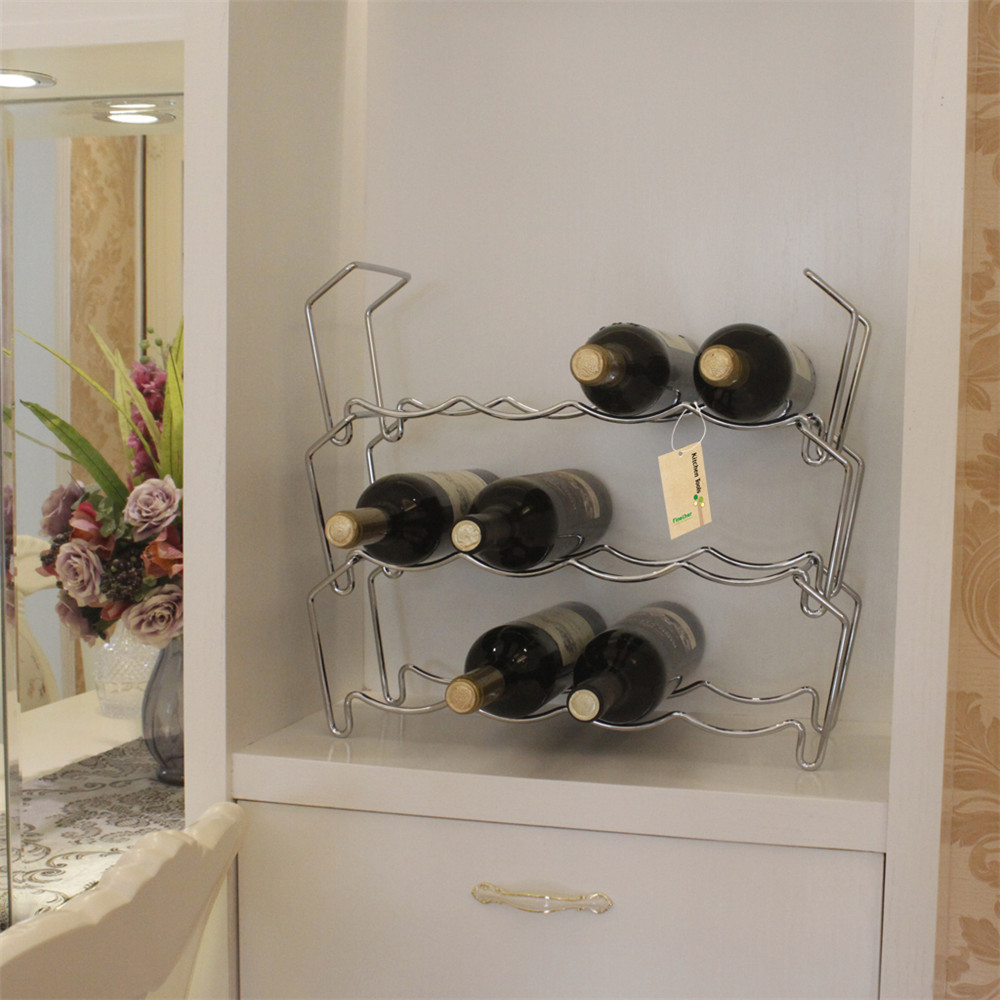Finether Free Standing 3 Tier Wine Towel Storage Rack Holds 12 ...