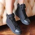 Manera ShoesWhite High Top Zapatos de Lona de Las Mujeres Ocasionales Planos Femeninos de Encaje Cesta Sólido Con Cordones Chaussure Femme de Deporte