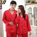 New Brand Couple Pajama Sets Lovers Sleepwear Silk Satin Solid Red Lovers Silk Pajamas Set Fashion Home Apparel Nightwear