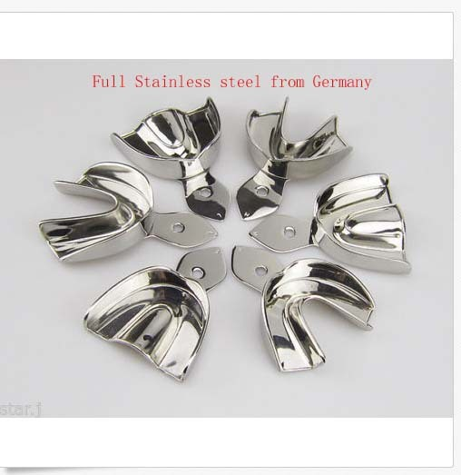 6PCS Dental Impression Trays Full Stainless steel dental tray without hole 3 types